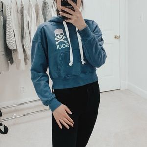 SoulCycle | Cropped Hoodie in Indigo Blue